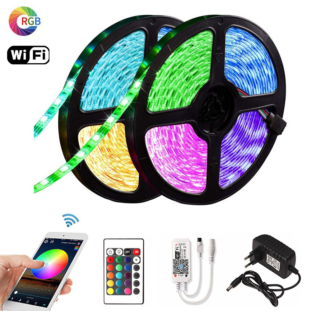 5m 10m 15m RGB <font><b>LED</b></font> Strip 2835 DC <font><b>12V</b></font> <font><b>Waterproof</b></font> WiFi Flexible Diode Tape Ribbon Fita Tira <font><b>LED</b></font> Light Strips With Remote + Adapter image