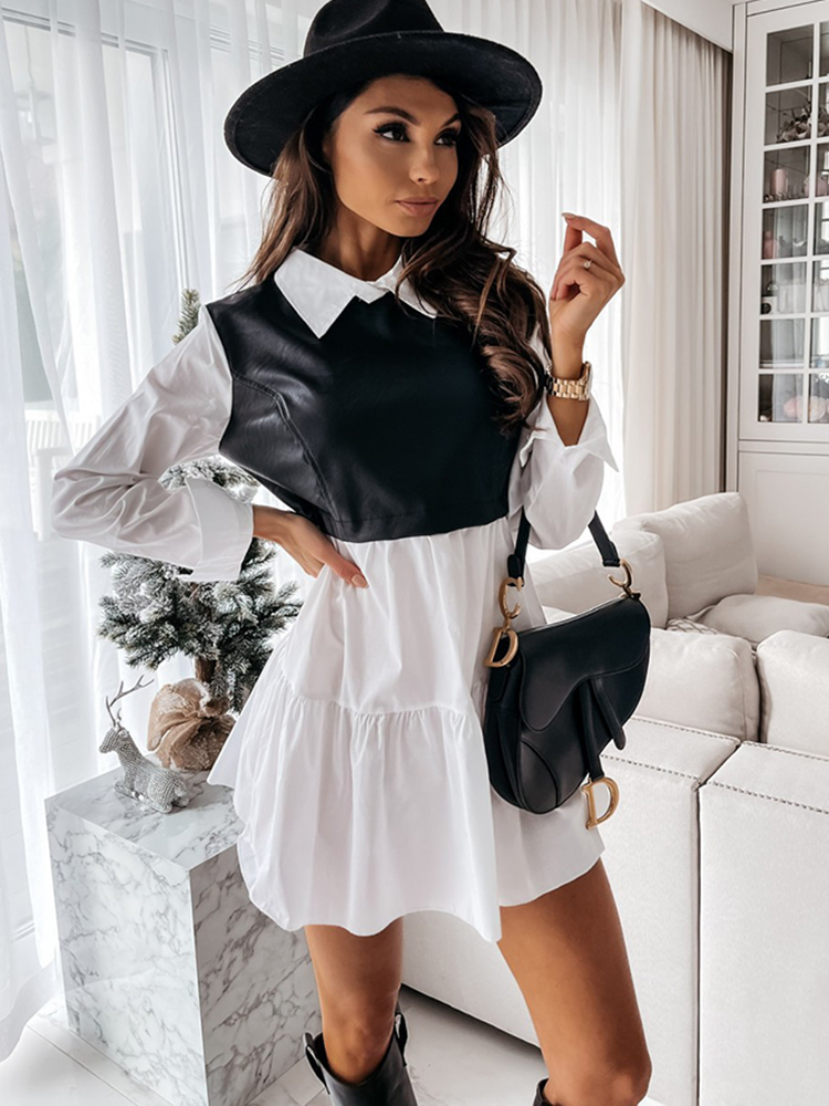 Woman Dresses Clothing Mini Shirt Femme Robe Long-Sleeve Patchwork Plaid White Casual