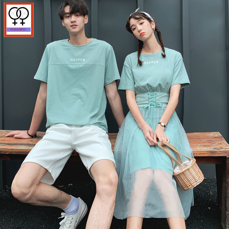 Matching Couple Clothes Boyfriends Girlsfriends Male Female Lovers Clothes Holiday Valentine's Date Holiday Belt T Shirt Dress