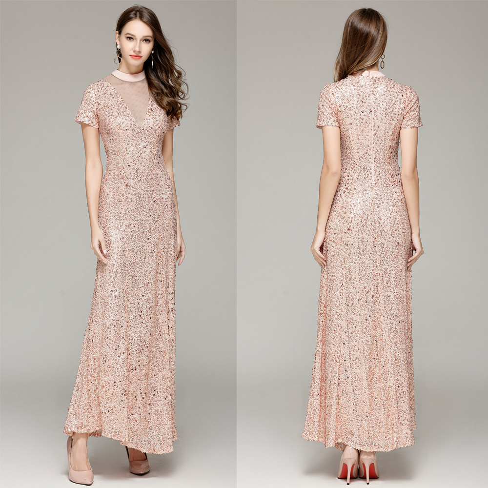 CK10244 Spring New Style Evening Gown Long Small High Collar Short Sleeve Banquet Sequin Evening Slim Fit Women's Annual General