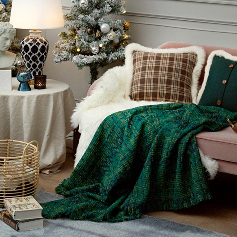 Wool throw blanket travel picnic bedding blanket modern