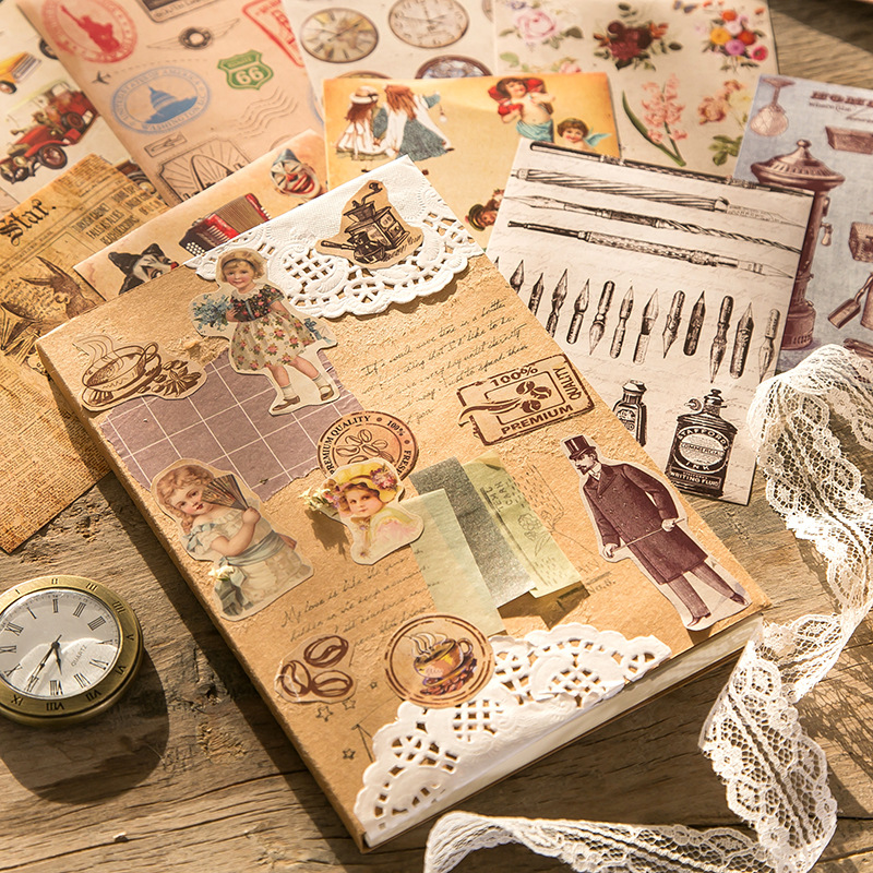 1set/lot Kawaii Stationery Stickers Retro pocket book Diary Planner Decorative Mobile Stickers Scrap