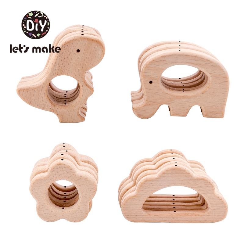 Let's Make 8pc Baby Wooden Teether Dinosaur Rabbit Food Grade Wooden Teething Toys Beech Wood Animal Bpa Free Baby Wood Teether