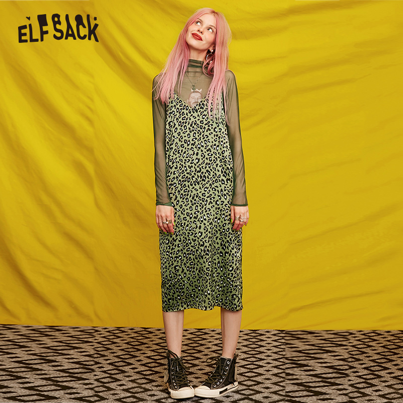 ELF SACK Sexy Green Leopard Women Dresses,2019 Autumn Vintage V-neck Female Off Shoulder Strap Holiday Dress Streetwear Clothing
