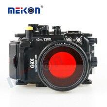 40 m/130FT מתחת למים עמיד למים מצלמה שיכון מקרה צלילה Canon PowerShot G9X + 67mm מסנן אדום