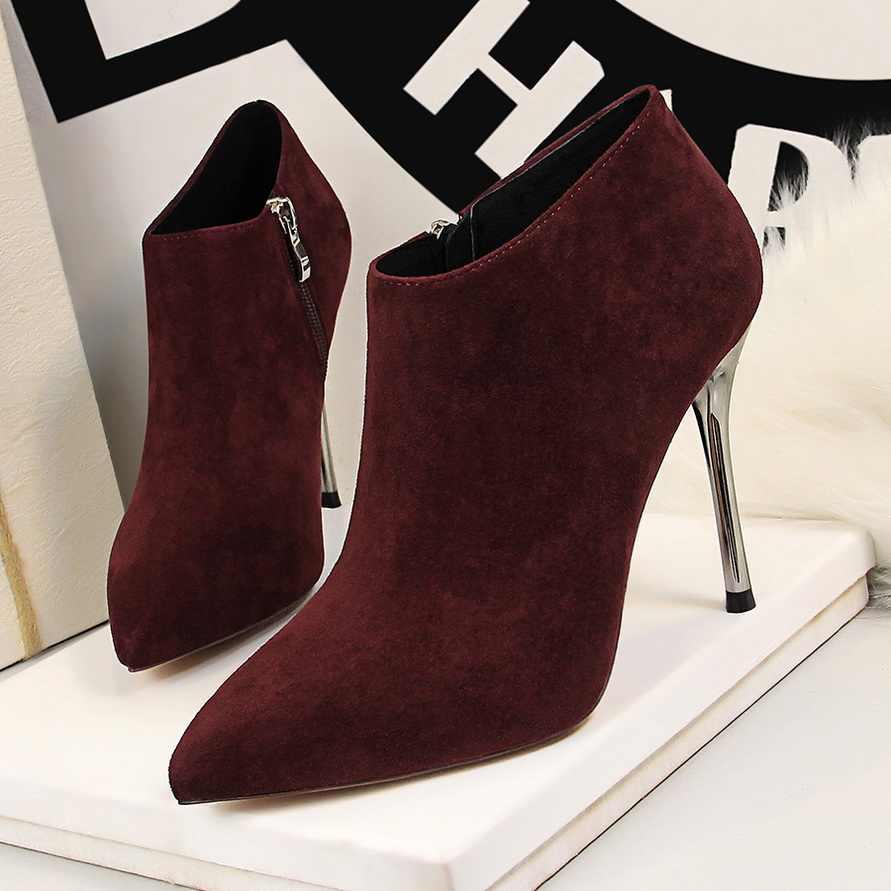 BIGTREE Sivri Burun Metal Topuk Moda Bayanlar yarım çizmeler Yüksek Topuklu Ayakkabılar Kadınlar Katı Akın Yan Fermuar Özlü kısa çizmeler