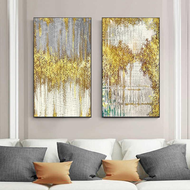 מופשט זהב נקודות בד ציור כחול ירוק אפור פוסטר ולהדפיס מודרני קיר תמונה לסלון יוקרה ענק קיר אמנות
