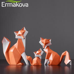 ERMAKOVA Nordic Modern Abstract Geometric Orange Fox Figurine Statue Desktop Ornament Office Home Decoration Animal Resin Craft