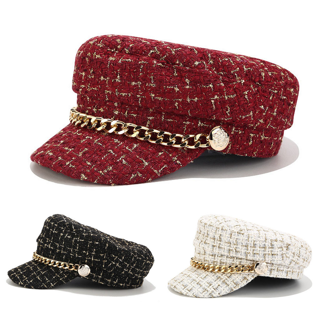 New Casual female beret hat Fashion Vintage Women Autumn Winter classical Cap chain navy hat outdoor flat top hat image