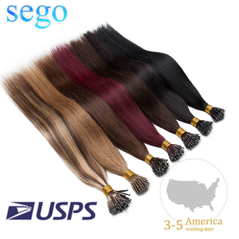 SEGO 16-24 Inch 1g/s 50pcs Nano Ring Hair Micro Beads Hair Extensions Non-Remy Human Pre-bonded Straight Brazilian Hair US Stock