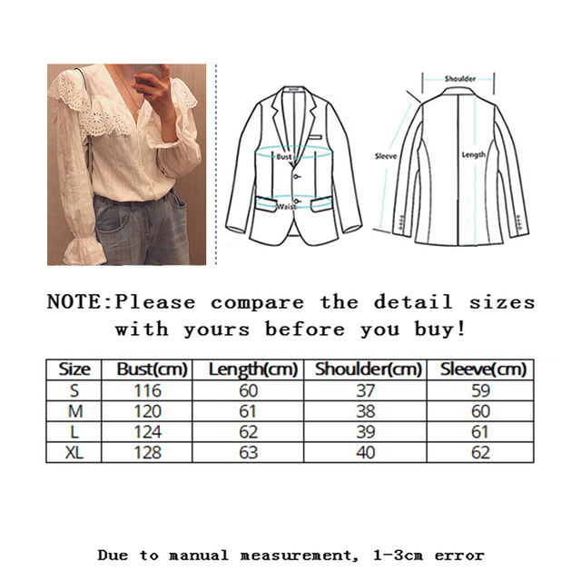 SLLSKY 2020 Spring Lady's Lace Patchwork Sweet White Blouse Women Blouses Long Sleeve Elegant Top Women's top Casual Shirts 6