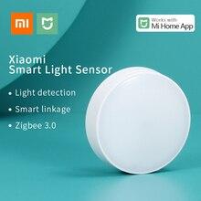 Xiaomi mijia sensor de luz inteligente casa detecção de luz zigbee conexão sem fio mijia multimodo gateway 3 trabalho com mi casa app