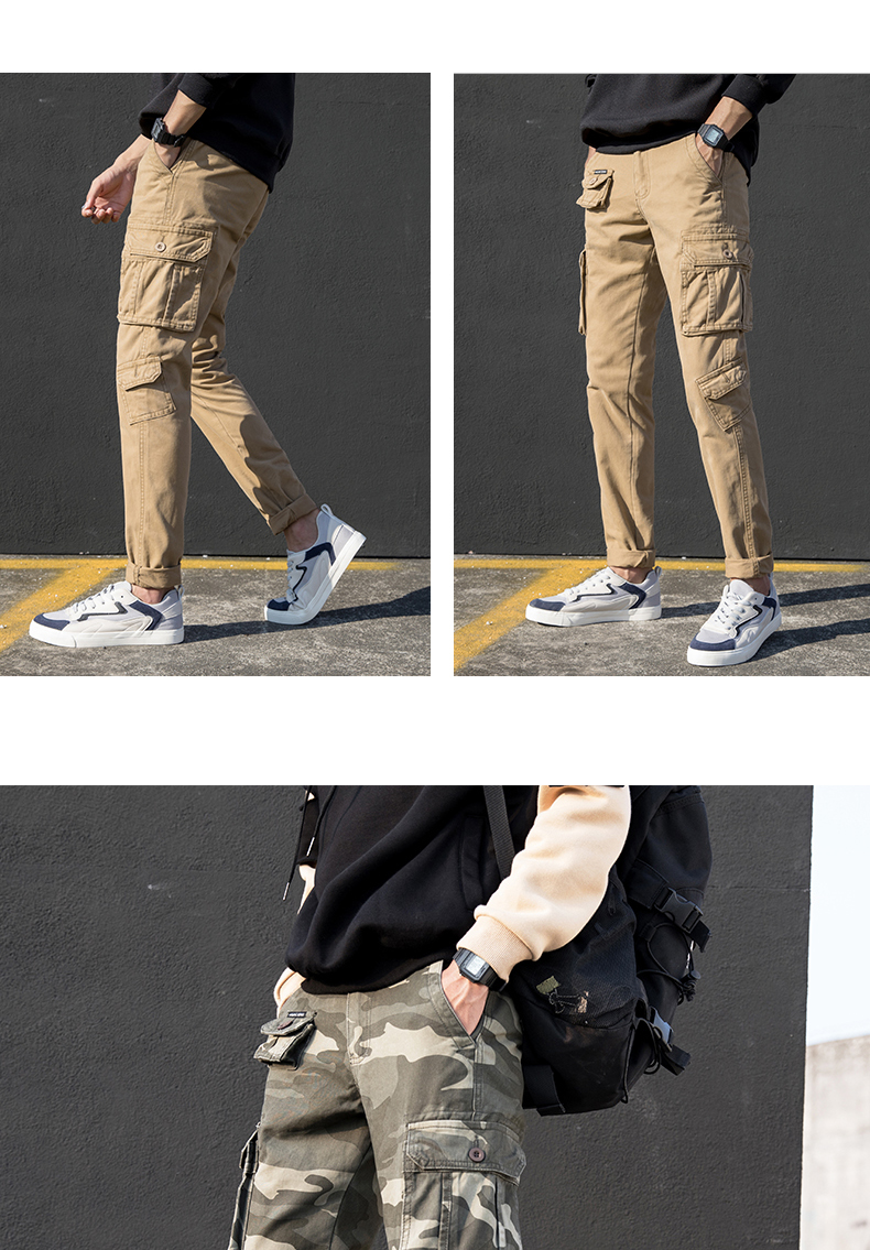 KSTUN Cargo Pants Men Straight Cut 100% Cotton Overalls Casual Pants Men Multi Pockets Camouflage Full Length Trousers Top Quality 20
