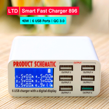 40w Smart USB Quick Charger HUB Led Display Universal Fast charging 6 USB Ports QC3.0 Power Adapter Socket Wall Phone Charger quick charge smart mobile usb charger socket 3port usb type c fast charging charger wall power adapter led display desktop strip