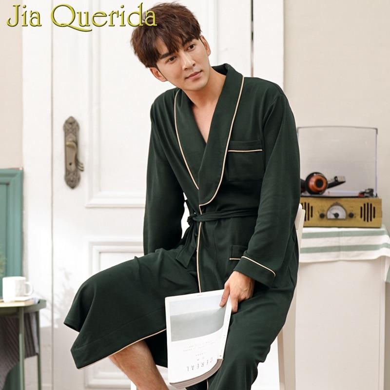 Solid Mens Robes Plus Size Dark Green 100% Cotton Homewear Bath Robe Long Sleeves Belted Autumn Winter Kimono Robe Men Kimono