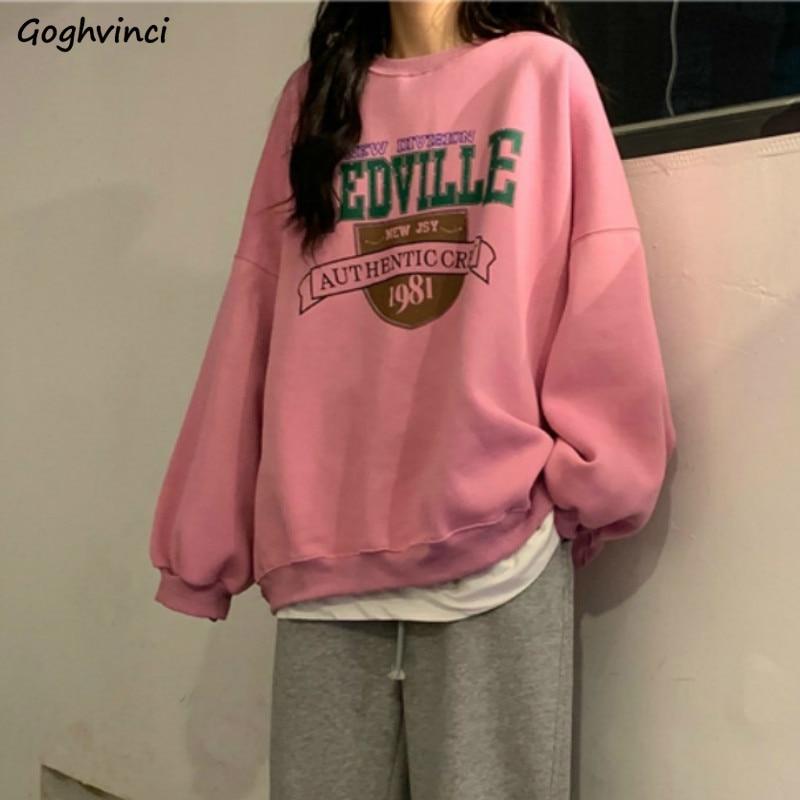 Hoodies Womens Thick Plus Velvet Oversize Printed Leisure BF Street Style Females Hoodie Casual Trendy Harajuku Sweatshirts New