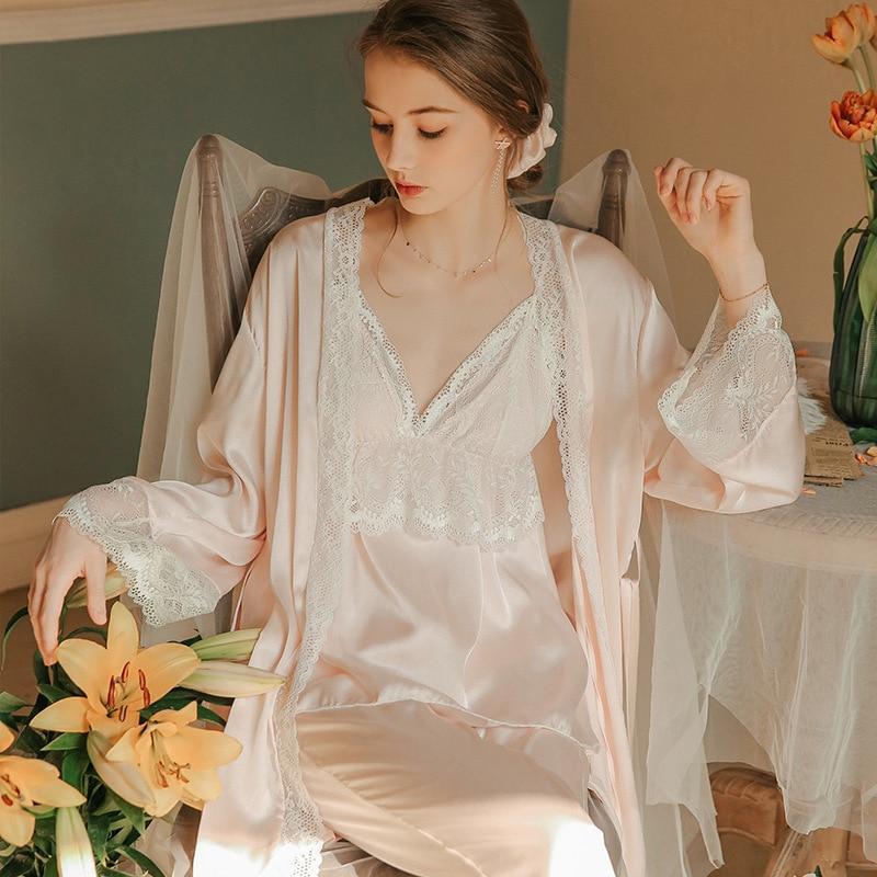 Women Pajamas Ladies Pink Sleepwear Simple Leisure Pyjamas 3pcs Long Sleeve Robe Camisole Pajamas INS Fashion