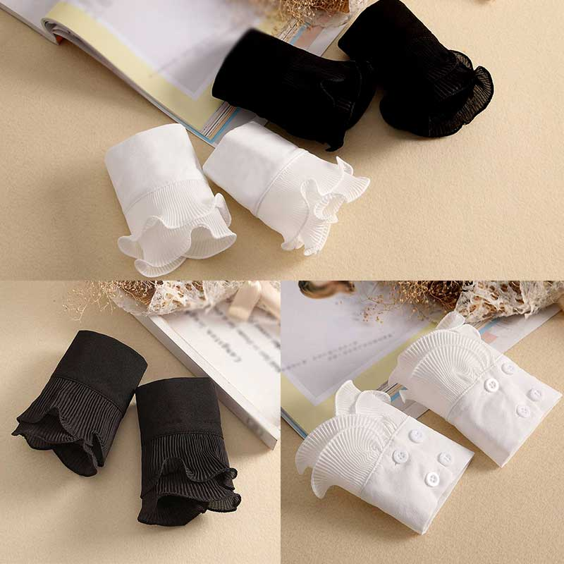 1Pair Women Girls Fake Flare Sleeves Floral Lace Pleated Ruched False Cuffs Sweater Wrist Warmers With Button Wholesale