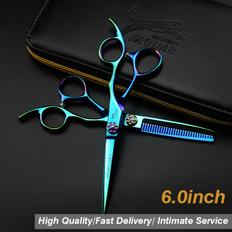 6 Inch Green  Hair Scissors Japan 440C Hairdressing Scissors Thinning Shears Hairdresser Hair Cutting Scissor  Set