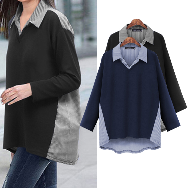ZANZEA 2020 Fashion Stylish Women Patchwork Shirts Blouses Ladies Lapel Neck Long Sleeve Blusas Casual Loose Tunic Tops S-5XL