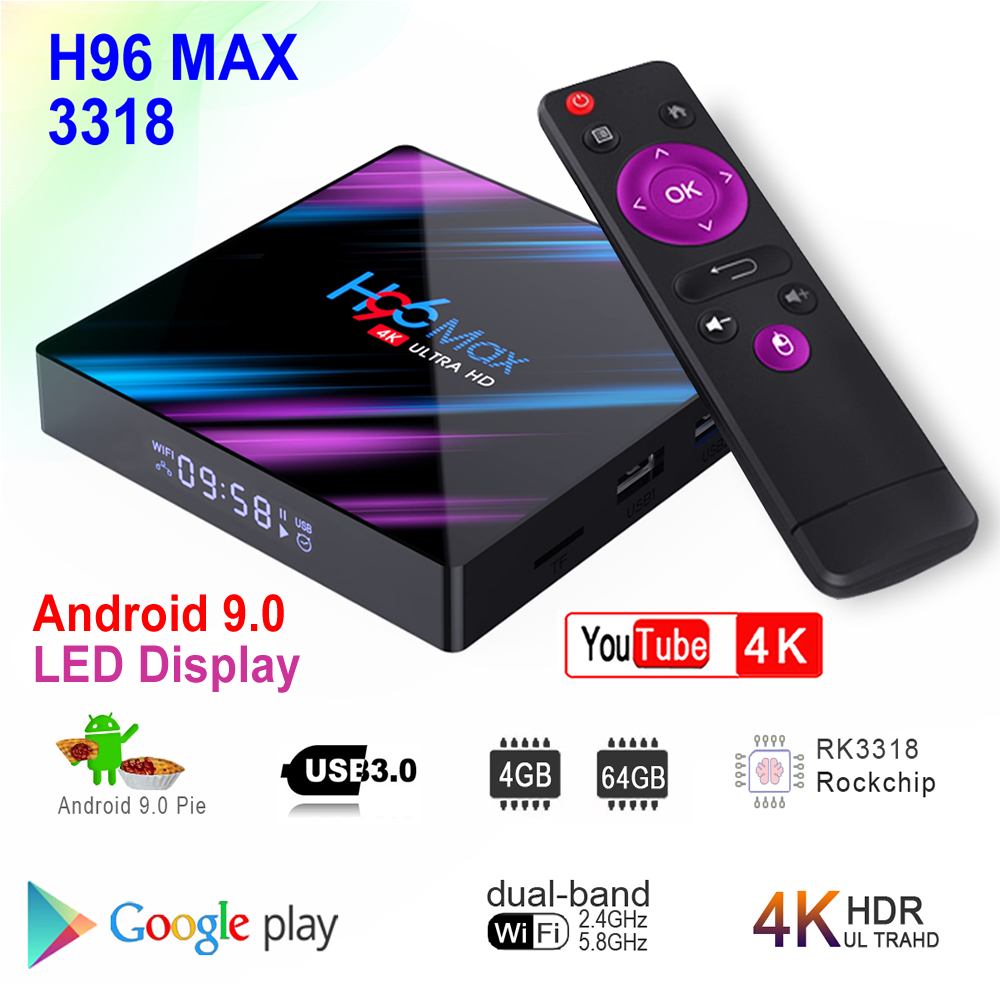 H96 MAX 3318 Android 9.0 Smart TV Box Rockchip RK3318 4GB RAM 64GB ROM BT4.0 USB3.0 2.4G/5G Dual WIFI 3D 4K HDR Set Top Box