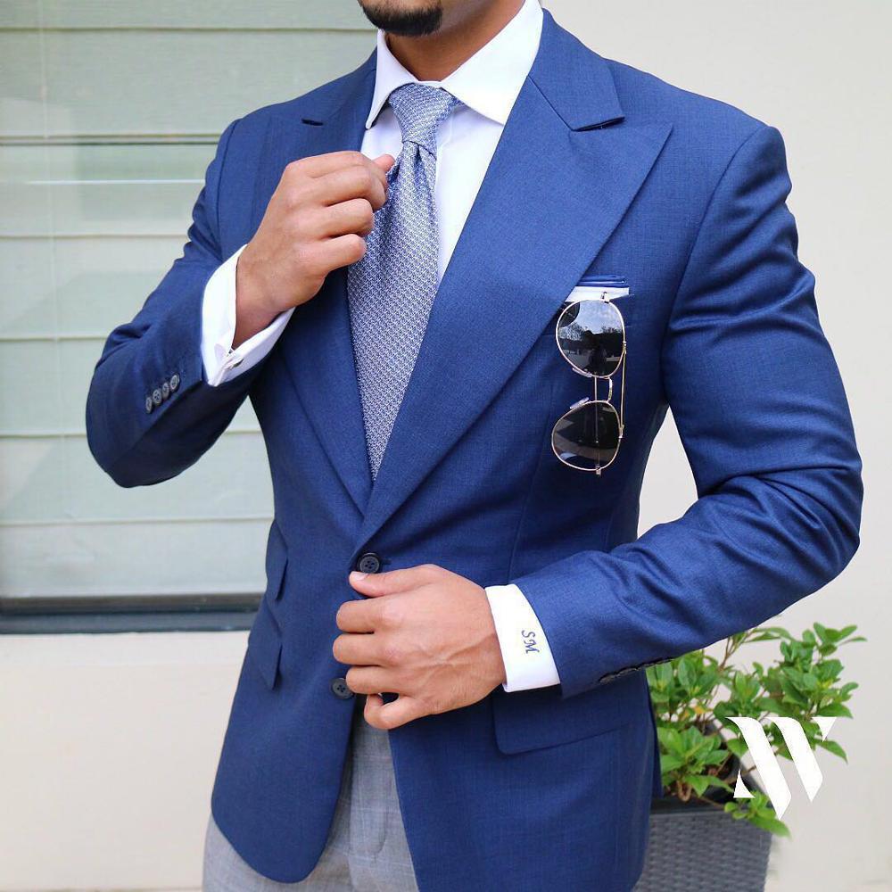 2020 Blue Suit Jacket For Men Leisure Solid Balzer Formal Notch Lapel Business Slim Fit Tuxedos Groomsmen For Coat