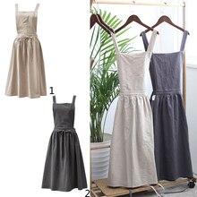 1pc Retro Women Cotton&Linen Apron Strap Pinafore Dress Restaurant Suit Home
