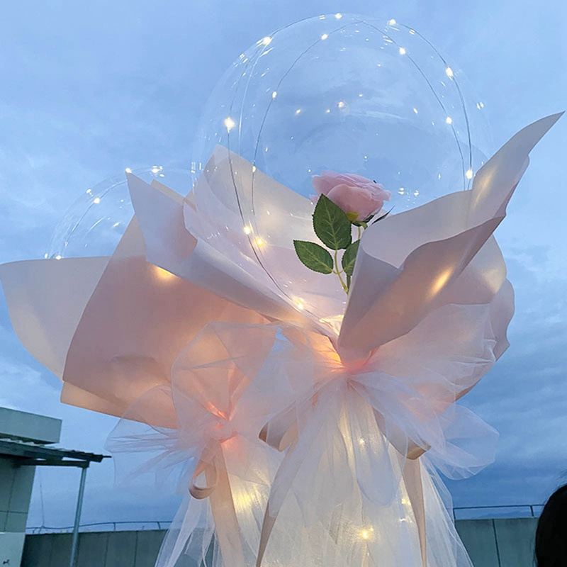 Glowing Balloon Romantic Rose LED Balloon Decoration Bobo Balloon Pink LED Light Gift for Girl Party Wedding Christmas Decor  - buy with discount