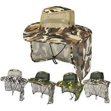 Унисекс камуфляжная шляпа ведро с сетчатым клапаном на шее для