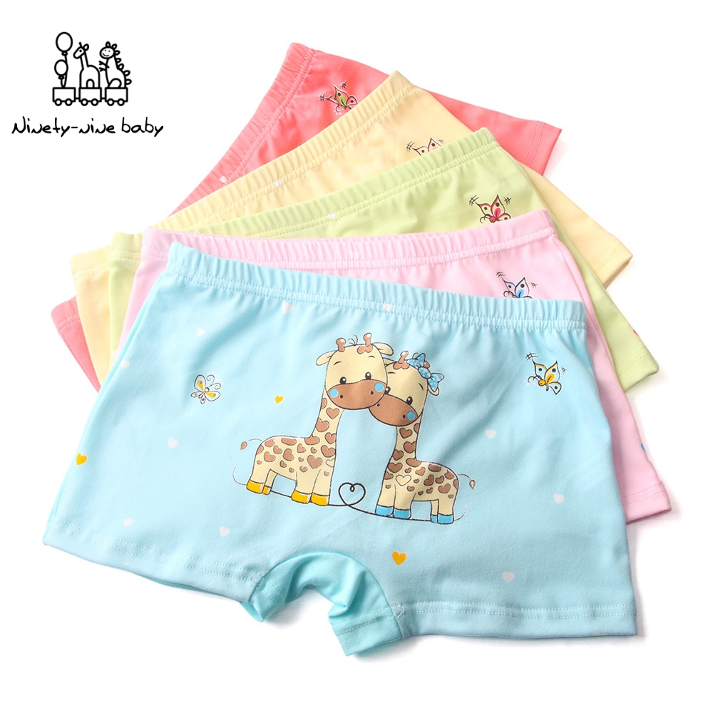 5Pcs/set Kids Underwear For 5-12T Unisex Underwear Girls Cotton Panties Boxers Cotton Cute Giraffe Printed Underpants For Boys