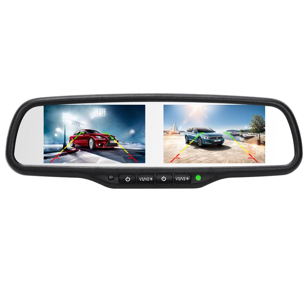<font><b>4.3</b></font> Inch Dual TFT <font><b>LCD</b></font> Screen Car Reverse Rear View Mirror with Monitor Video Player for Car Rearview Backup Parking Camera/DVD image