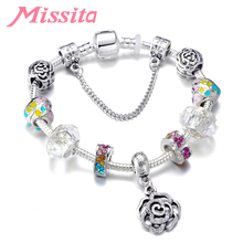 MISSITA Women Rainbow Rose Pendant Charm Bracelet Bangle Silver Plated Decoration Brand for Anniversary Gift