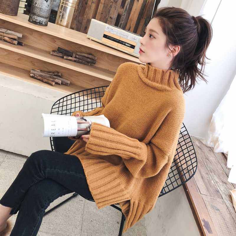 OLOEY Turtleneck Sweater Women Pullover High Elasticity Knitted Ribbed Jumper Autumn Winter Basic Female Sweater truien dames