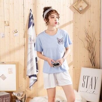 Hot sale Summer Shorts Pajama Sets for Women Short Sleeve Sleepwear Cute Girls Cartoon Pyjama Homewear Pijama Mujer Home Clothes 14