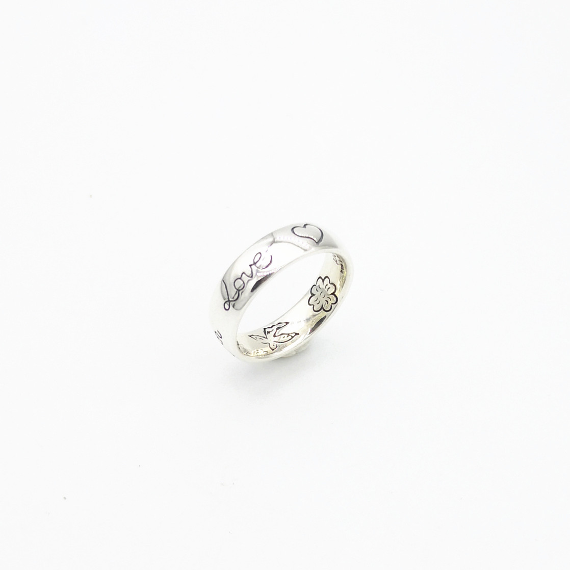 Men And Women Lovers From 925 Sterling Silver Classic Sweet Romantic Flower Ring Jewelry Carved Heart Love Letters