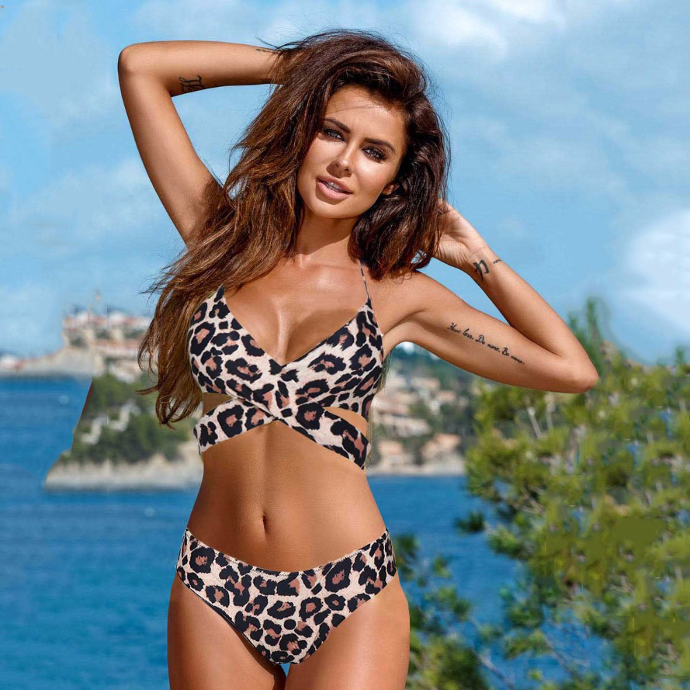 Leopard Swimsuit Snake Print Bikini 2020 Sexy Cross Bandage Bathing Suit Women Push Up Separate Bikini Set Halter Top Swimwear