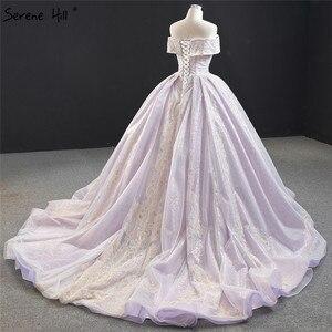 Image 4 - שלווה היל סגול תחרה ואגלי פרל שרוולים שמלות כלה 2020 כבוי כתף סקסי כלה שמלות DHM67082 תפור לפי מידה
