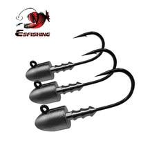 Esfishing bala gabarito cabeça 5 pçs 2.5g 3.5g 5g 7g 10g parafuso cabeça gancho de pesca para a pesca da carpa
