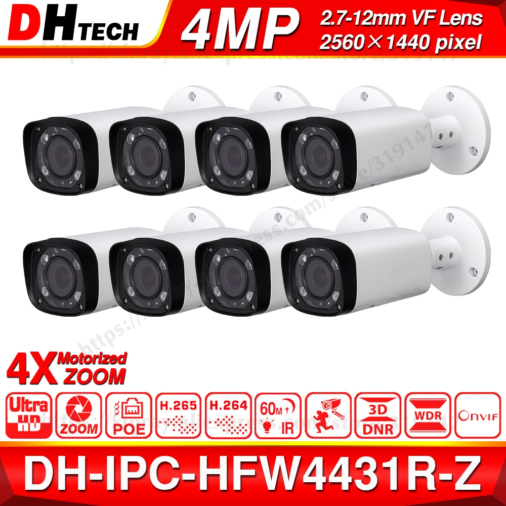 Wholesale DH IPC-HFW4431R-Z 8pcs/lot 4mp Network IP Camera 2.7-12mm VF Lens Auto Focus 60m IR Bullet Security POE For CCTV Kits