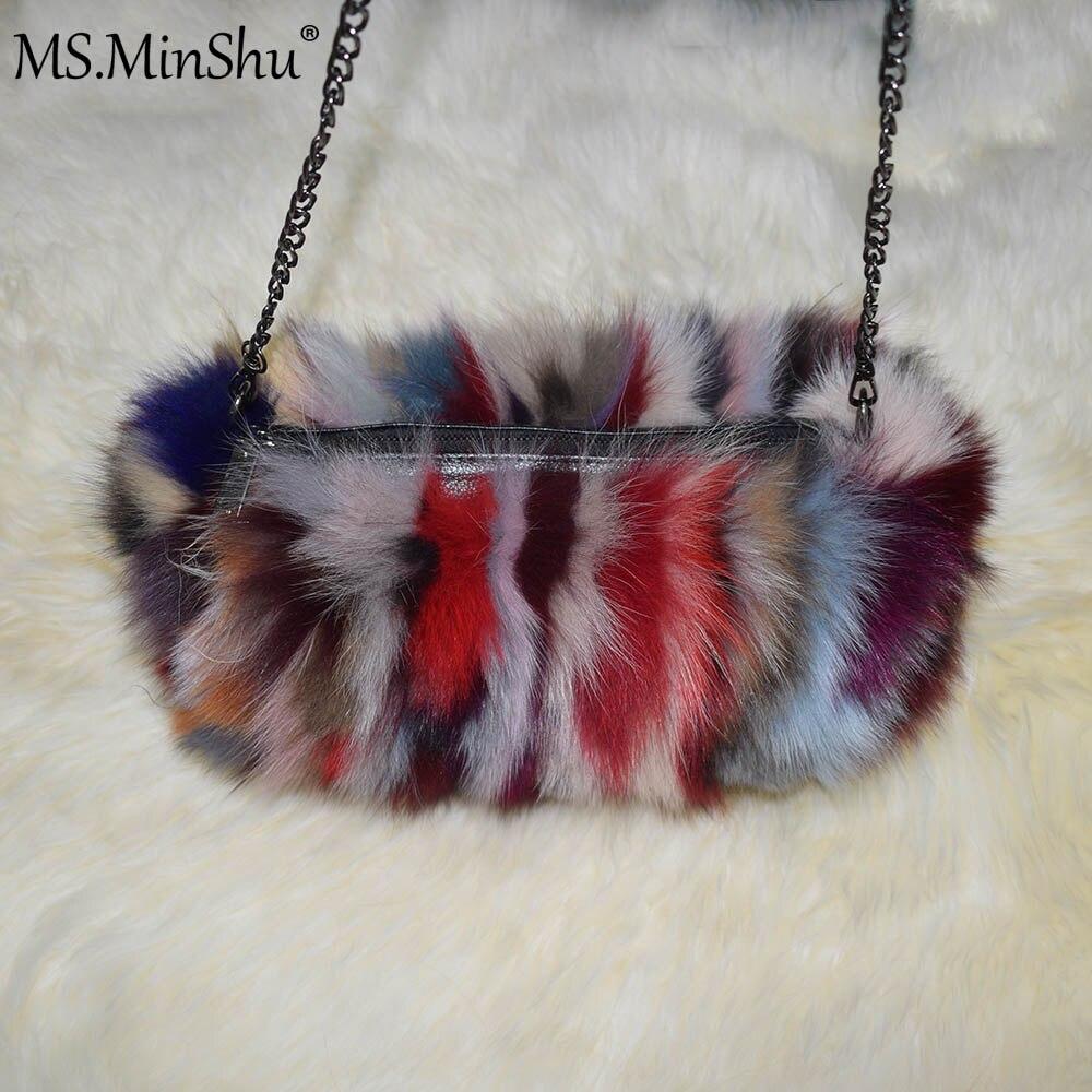 MS.MinShu Brand Real Fox Fur Hand Muff Bag Winter Hand Warmer Real Fur Muff Fashion Woman Pocket Handmuff With Chain