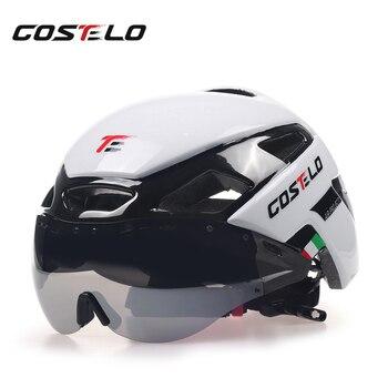 2017 costelo ciclismo capacete de luz mtb capacete da bicicleta de estrada capacete velocidade airo rs óculos segurança das mulheres dos homens 230g 1