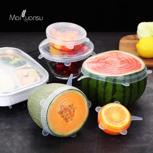 Maiyuansu 6 unids/set tapa de silicona para alimentos tapas de silicona universales para utensilios de cocina Bol reutilizable tapas para cocina Accesorios 1