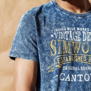 Image 3 - سيموود 2020 قميص نيلي كلاسيكي جديد للصيف والربيع مطبوع عليه حروف برقبة دائرية للرجال 100% قطن هيب هوب علوي 190426