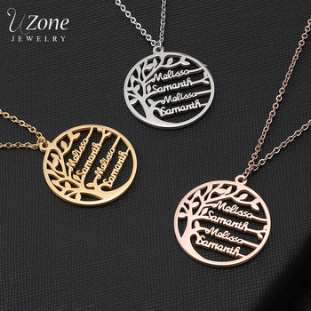 UZone Custom Name Family Tree Necklace For Women Stainless Steel Personalized Nameplate Necklace Statement Jewelry Birthday Gift sideway customised double nameplate necklace personalized two name pendants jewelry family name bar necklace christmas gift
