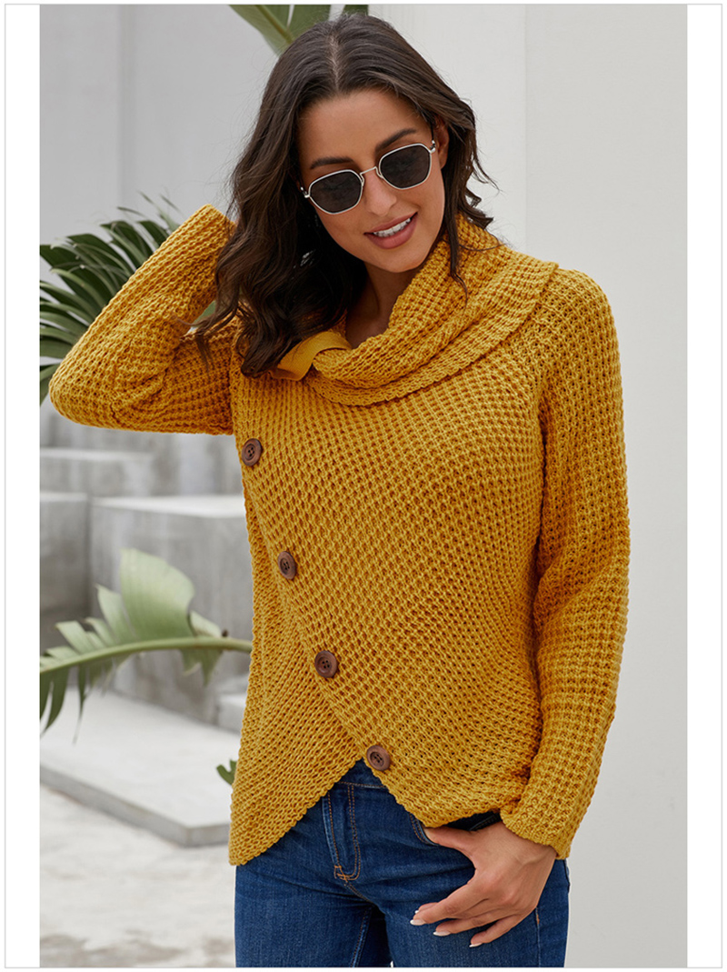 Button Turtleneck Sweaters Women Long Sleeve Irregular Winter Clothes Women Casual Ladies Female Pollovers Women Clothing 2019 (12)