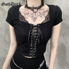 Goth ciemny siatkowy Patchwork Gothic t-shirty bandaż przód czarny Punk kobiety krótkie bluzki Bodycon krótki rękaw, dekolt v seksowny T-shirt 2021