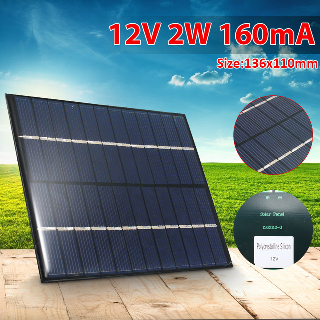 CLAITE 12V 2W 160mA 다결정 실리콘 미니 태양 전지 패널 모듈 셀 충전기 DC 배터리 DIY 136x110mm 품질 도매