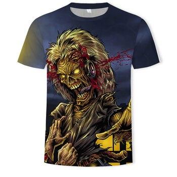 Retro Heavy Metal Music Cool Classic Rock Band Skull head t-shirts Fashion Rocksir T Shirt Men 3D T-Shirt DJ Tshirt Mens