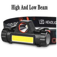 Luz Led fuerte Mini carga pequeña impermeable astigmatismo cob lámpara de cabeza al aire libre lámpara para pescar de noche multi función faro