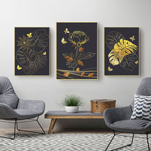 Nordic Gold Lotus Canvas Painting Leaves Butterfly Art Prints Modern Abstract Printings for Living Room Unframed
